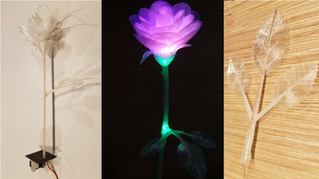 Featured image of 3D Printed Rose Blossoms and Lights Up When Touched