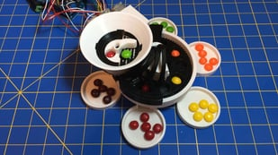 Featured image of 3D Printed Skittles Sorting Machine, Powered by Arduino