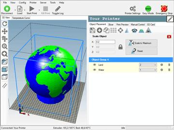Imagem de Software para impressora 3D: fatiamento e gerenciamento da impressora 3D: Repetier-Host