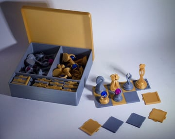 Image of 3D Printed Chess Set: Buildable Chess Board