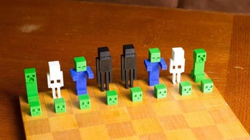 Image of 3D Printed Chess Set: Minecraft Chess Set