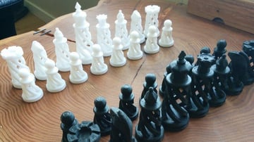 Image of 3D Printed Chess Set: Spiral Chess Set