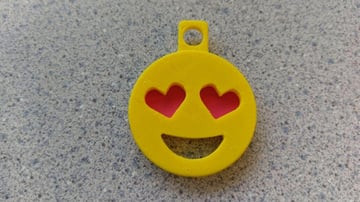 Image of Quirky Emoji 3D Printable Toys and Figures: Heart Eyes Emoji Keychain Addon