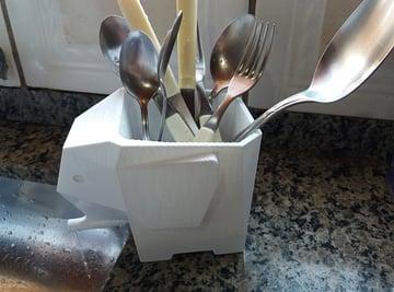 Imagen de Accesorios impresos en 3D para la cocina: Escurridor de cubiertos elefante Jumbo
