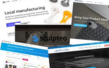 Screenshots of 3D printing services sites described in this paragraph