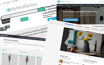 Screenshots of several 3D printing sites where you can download 3D printable models