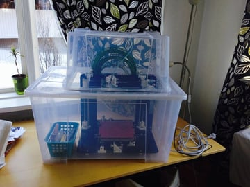 A 3D printer enclosure made from two IKEA boxes.