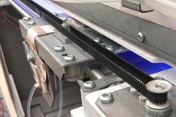 A belt on a horizontal axis of a 3D printer.