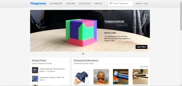 The Thingiverse homepage.