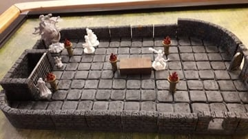 A battle scene created with 3D printed pieces.