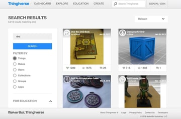 Searching for D&D items on Thingiverse.
