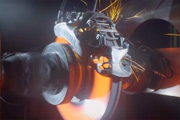 Bugatti's 3D printed brake caliper pictured during testing