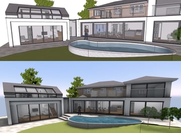 Comparison between normal image and render entirely made in SketchUp