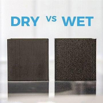 A comparison of dry vs wet filament.