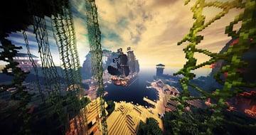 A Minecraft landscape.
