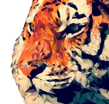 A low poly tiger.