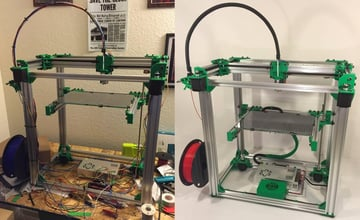 A RAMPS board runs a DBOT CoreXY 3D printer.