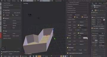 Screenshot of Blender running with the Archimesh add-on.