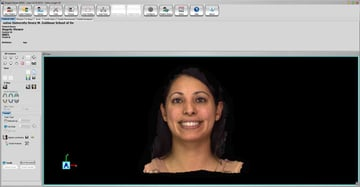 A 3D face model rendered in software.