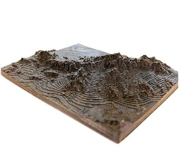 3D printed terrain model using Terrain 2STL.