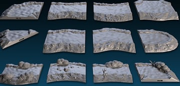 3D printed stream terrain sections.