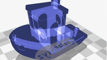 An X-Ray view of 3DBenchy in Ultimaker Cura.