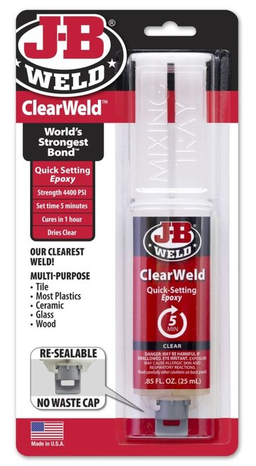 JB Weld ClearWeld epoxy is versatile and durable.