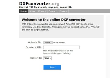 A screenshot of the DXF Converter website.