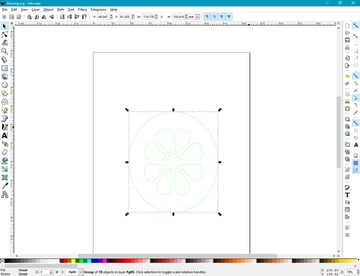 Re-scaling a vector drawing in Inkscape.