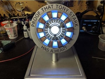 A printed stand for the arc reactor replica.