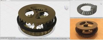 A 3D printable bevel gear.