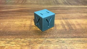 A calibration cube smoothed out with vapor smoothing.