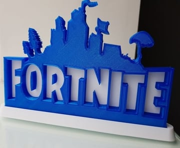 A Fortnite logo printed from an image.