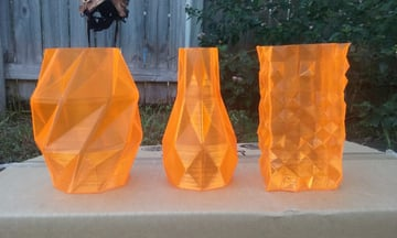 Smooth and translucent PETG vases.