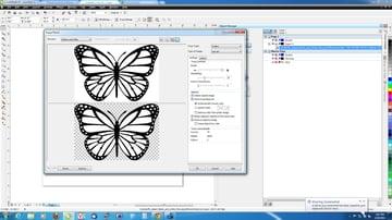 Preparing a file for laser cutting in CorelDRAW.