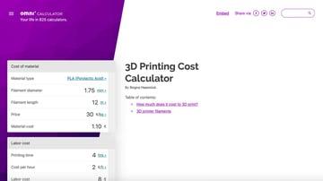 A screenshot of Omni's 3D printing cost calculator.