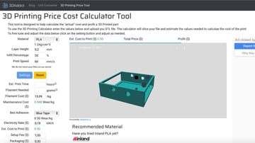3DAddict's online 3D printing price calculator.
