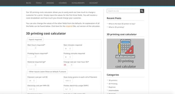 3DprintingPro's 3D printing cost calculator.