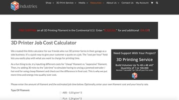 IC3D Printer's 3D printing cost calculator.