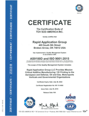 Image of 3D Printing Industry News Digest: Rapid Application Group Announces AS9100 Rev. D Certification