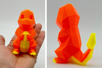 A low-poly Charmander printed in Neon Orange and Neon Yellow CPE HG100.