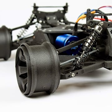 An open-source RC car printed in ColorFabb XT carbon-filled filament.