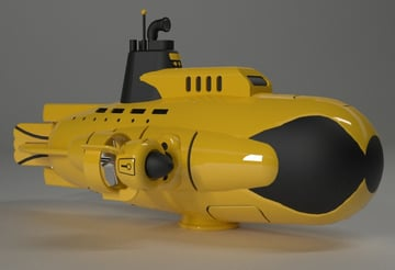 A model of a yellow submarine.