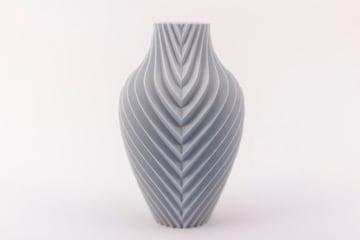 A monochromatic vase printed using vase mode.