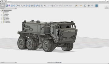 A detailed truck modeled in Fusion 360.