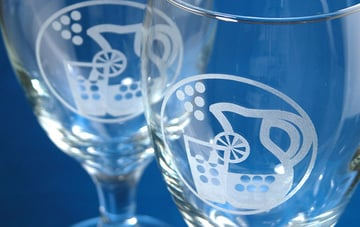 A pair of laser-etched glasses.