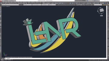A 3D logo created in AutoCAD.