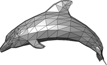 A mesh dolphin composed of triangles.