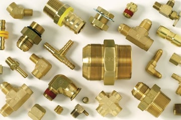 Various brass hydraulic fittings.