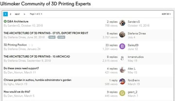 A discussion board from the Ultimaker community